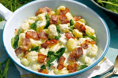 Gnocchi With Blue Cheese Bacon And Spinach