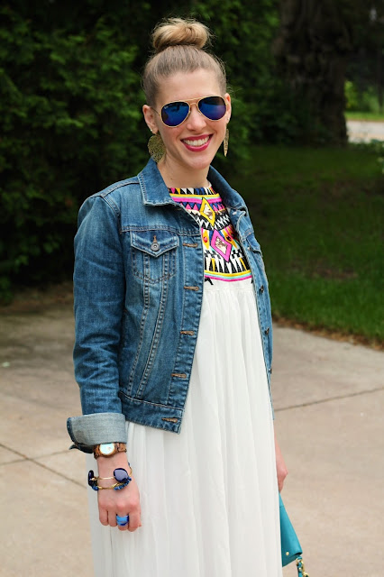 embroidered maxi dress, jean jacket, gold sandals, turquoise clutch