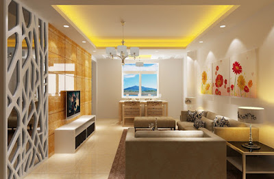 living room dining room combo separating with false ceiling and light