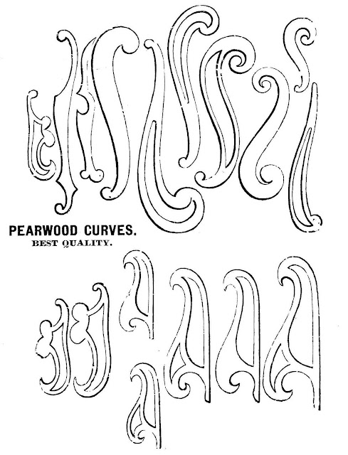 A catalog illustration of 1888 wooden drafting curves