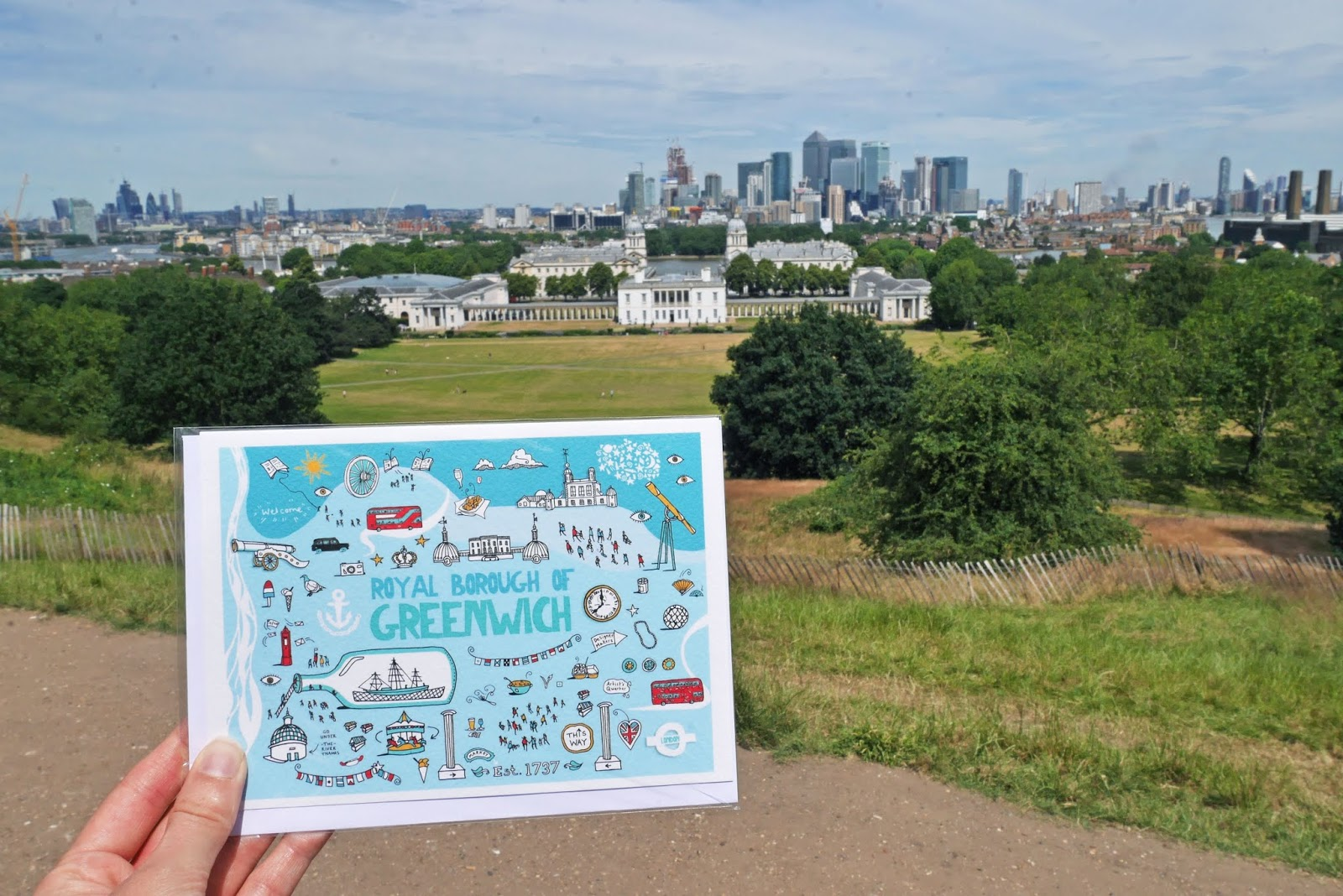 Illustrative postcard of Greenwich in Greenwich Park