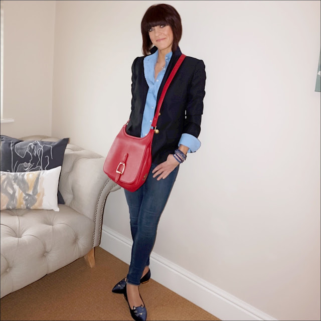 My Midlife Fashion, j crew regent blazer, french connection rebound skinny jeans, village england sway bag, j crew ruffle shirt, charlotte olympia kitty slippers
