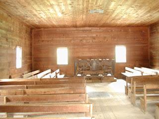 The interior of the Primitive Baptist Church.