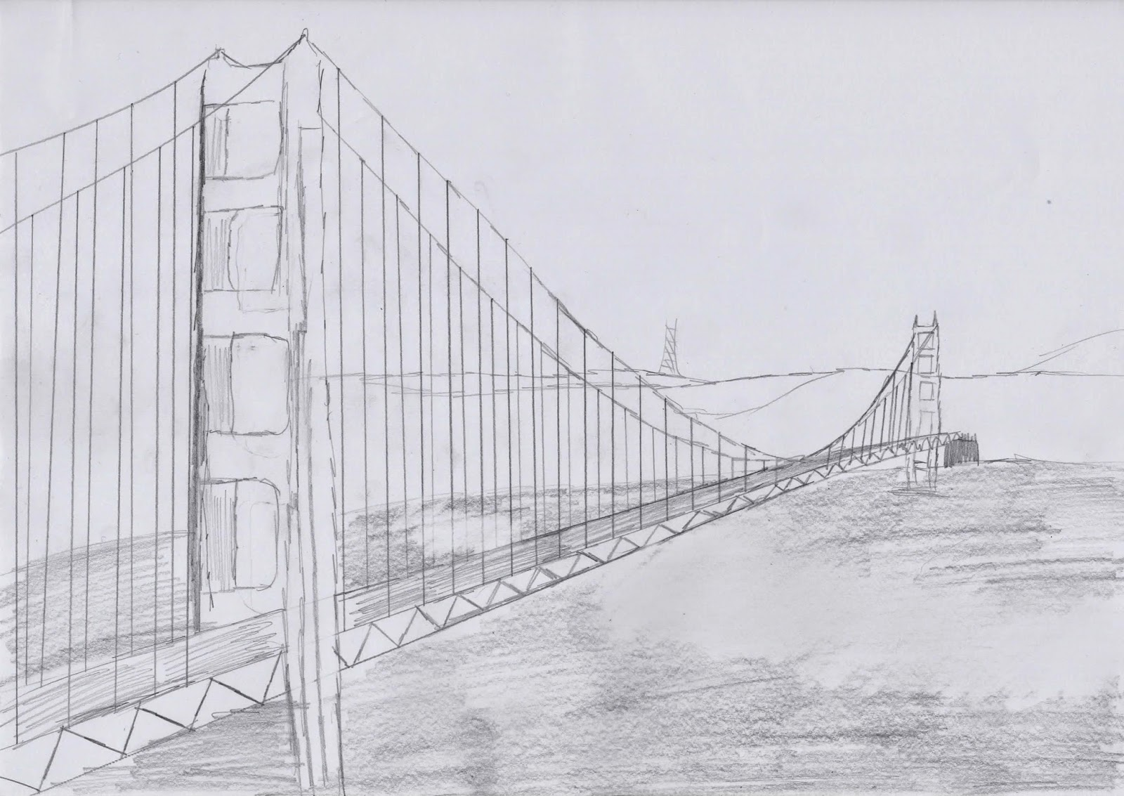 A free hand pencil sketch of san franciscos golden gate bridge a structure i would like to visit in the future