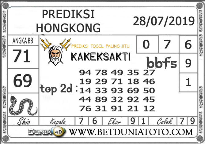 """Prediksi Togel """"HONGKONG"""" DUNIA4D 28 JULI 2019"""
