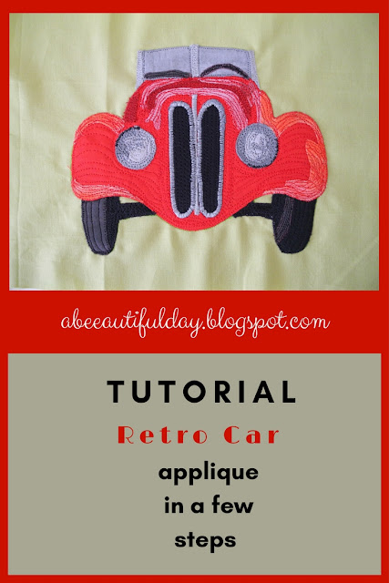 Retro Car Applique steps Tutorial