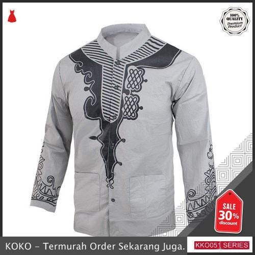 KKO51 RSR241 Baju Muslim Cowo Rizal Lengan Panjang Motif Sablon Slimfit BMGShop