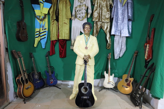 Victor Uwaifo's selected guitars and outfits