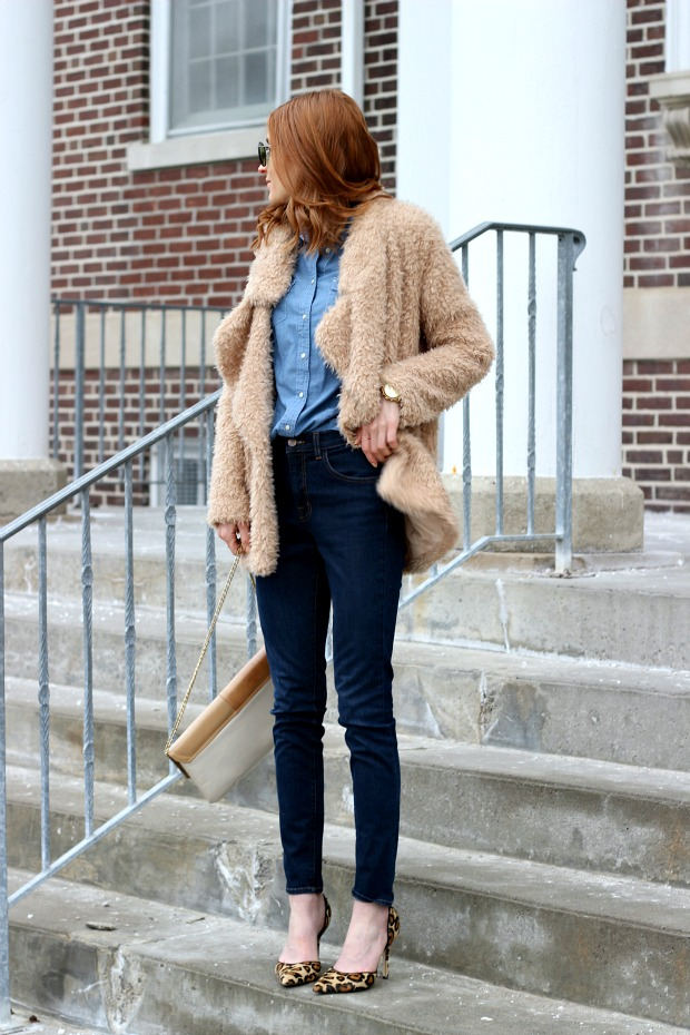 denim on denim, 70's vintage vibes, faux fur