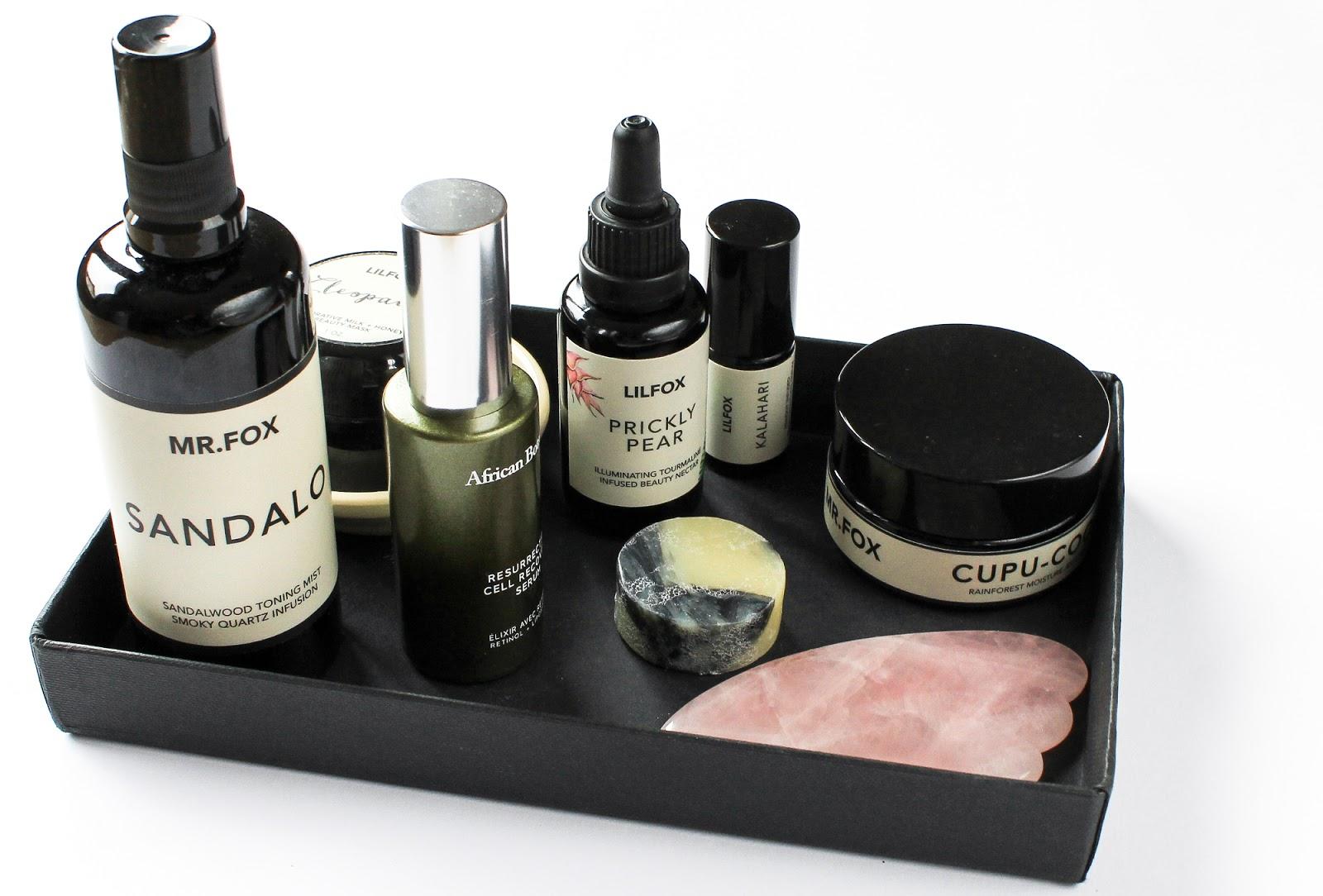 Evening Skincare Routine LILFOX, Ayuna, African Botanics, Beauty Heroes, Boxwalla. Gua Sha Rose Quartz