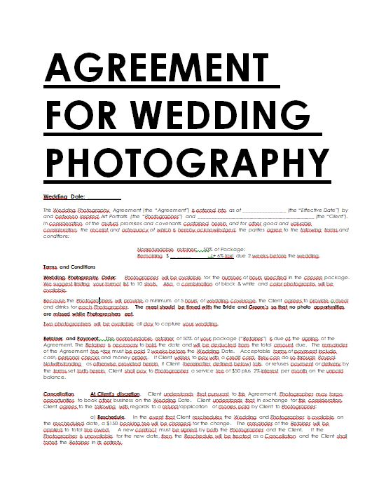 Photography Contract Sample Contracts - Contract Templates