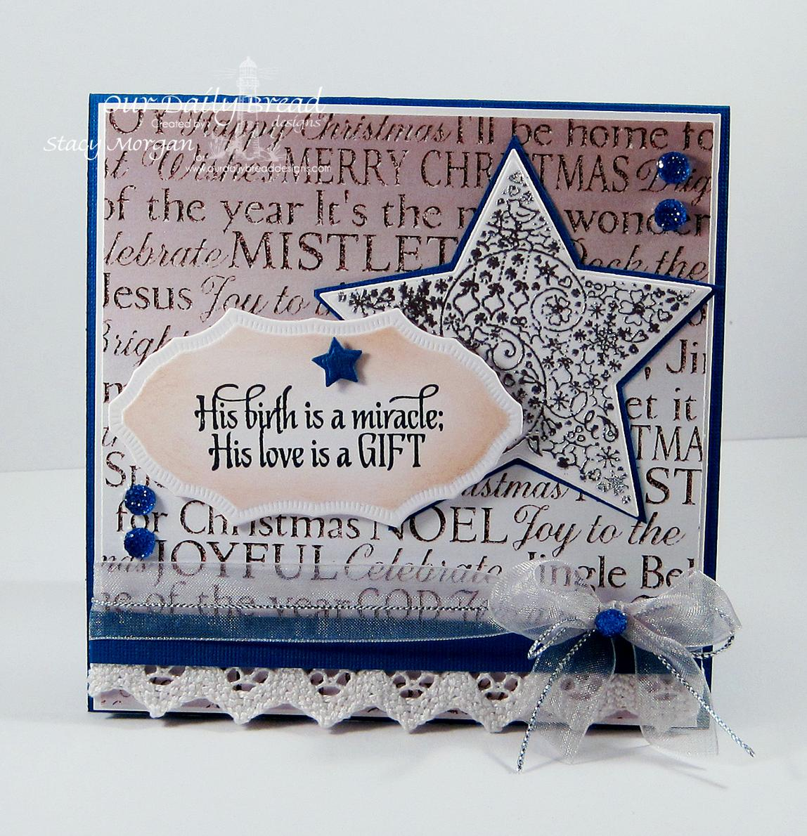 Stamps - Our Daily Bread Designs His Birth, ODBD Winter Paper Collection 2014, ODBD Custom Sparkling Stars Dies, ODBD Custom Vintage Flourish Pattern Die