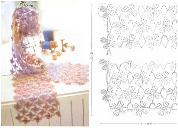 flor, flores, crochet, ganchillo, tejer, labores, bufanda, scarf, patrones