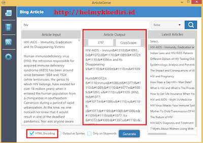 Encoding HTML article genie