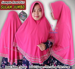 Jilbab syar'i ukuran jumbo bahan jersey variasi sula renda