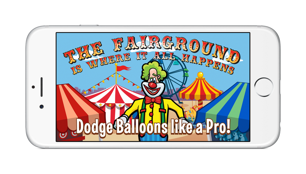 Laugh Clown Professional Balloon Dodger screenshot with the iPhone 6 Plus device frame around it.