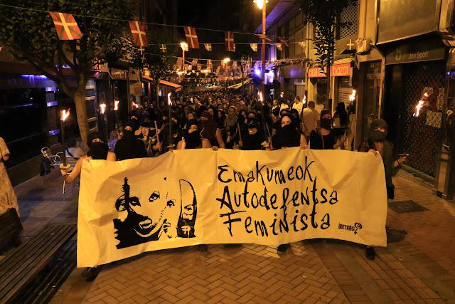 La marcha feminista a su paso por Zaballa