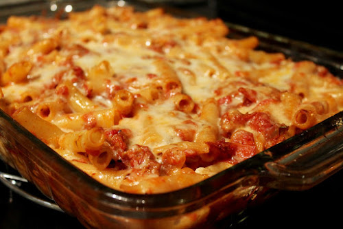 Roasted Tomato and Sausage Baked Ziti