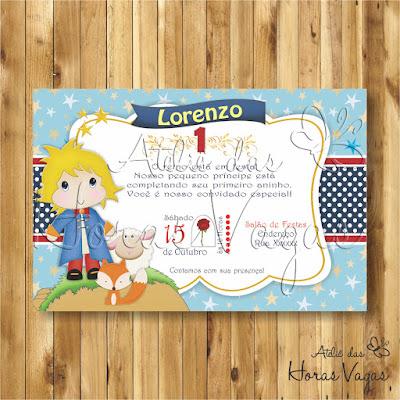 convite digital aniversário infantil personalizado artesanal festa chá de bebê fraldas o pequeno príncipe menino azul vermelho delicado