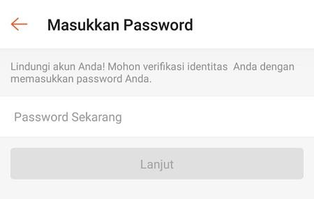 Masukkan Password akun Shopee