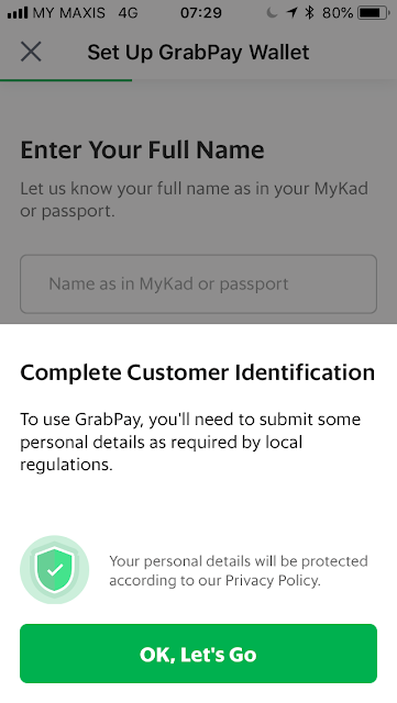 GrabPay - Enter name as per IC