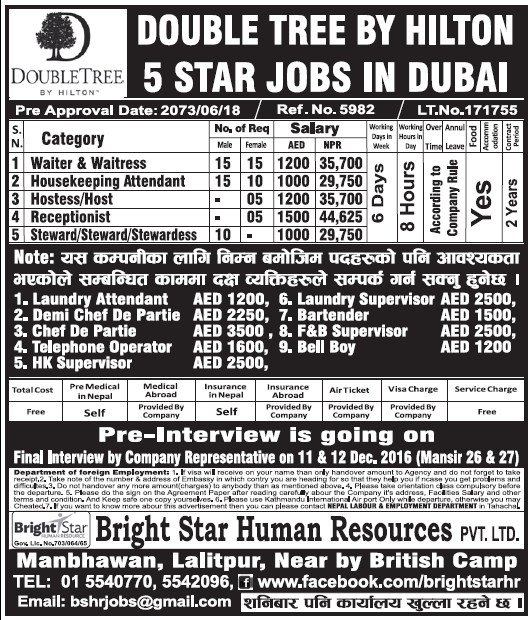 Jobs In 5 Star Hotel In Dubai For Nepali Salary Rs 44 625 New