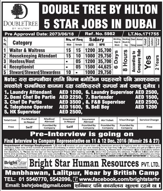 Jobs in 5 Star Hotel in Dubai for Nepali, Salary Rs 44,625