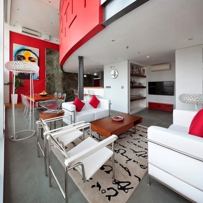 Lindas salas en blanco y rojo   ideas de salas con estilo