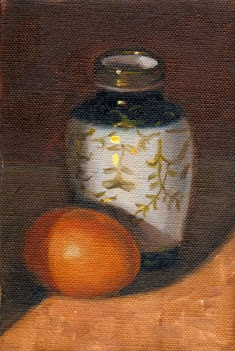 Oil painting of an egg and a small blue and white Chinese-style vase with gold patterns.