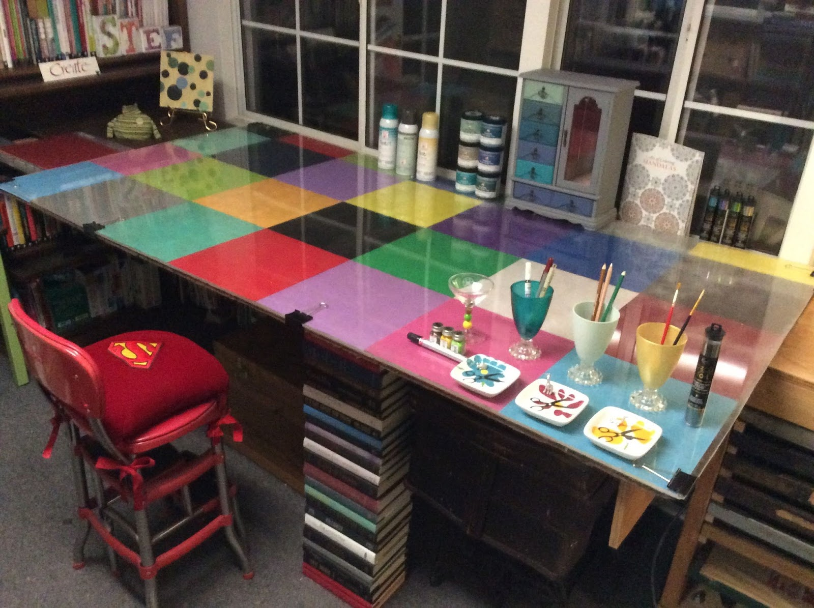 sweater surgery color blocked craft table and accessories. Black Bedroom Furniture Sets. Home Design Ideas