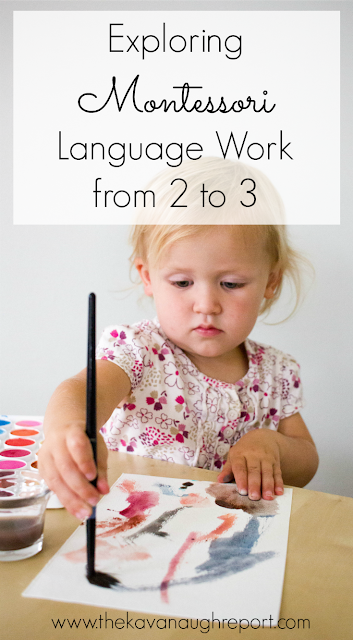 Montessori language work from ages 2 to 3. A look at how Montessori toddlers work on language development as they move towards reading and writing. Some ideas on what activities to do and which to avoid.
