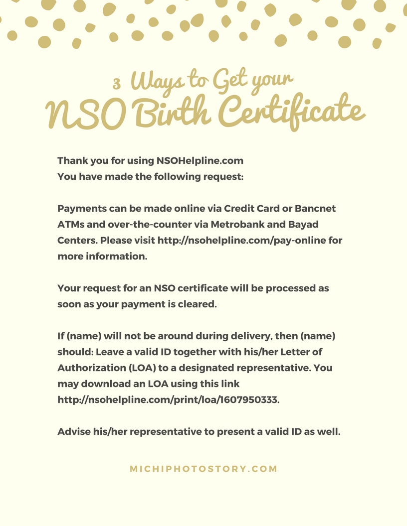 Michi photostory 3 ways to get your nso birth certificate online via credit card and after my payment i received email and text messages regarding my order you can track your order too p350 birth certificate aiddatafo Choice Image