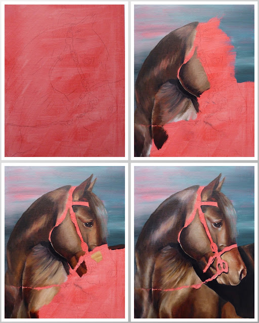 horse on a red background, work in progress photos