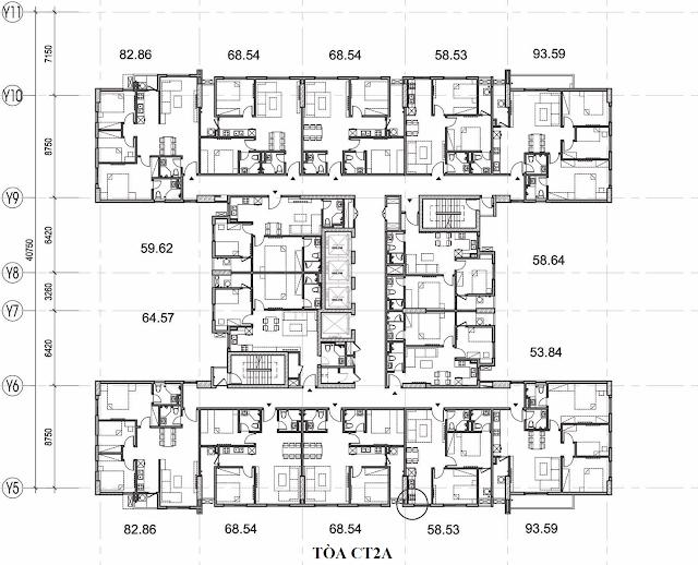 Mặt bằng điển hình tòa CT2-A chung cư TheK Park