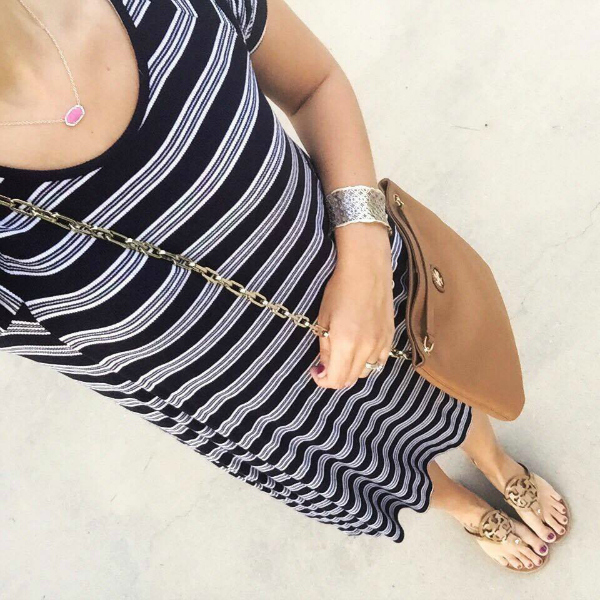 striped swing dress, tory burch bag