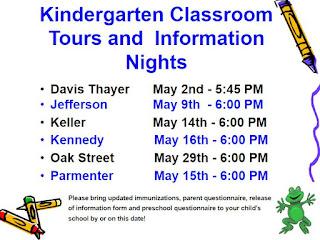 Kindergarten Information Night Schedule