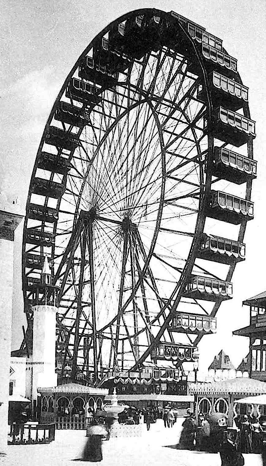 photograph of a giant Ferris Wheel at the 1893 Chicago World's Fair