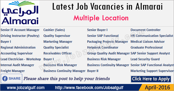 Latest Job Vacancies in Almarai - Jobzatgulf.com