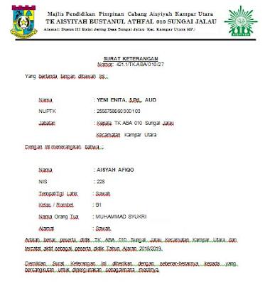 Contoh Surat Keterangan Aktif Peserta Didik TK/PAUD 2018/2019