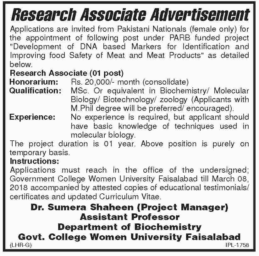 Govt College Women University Faisalabad Jobs 2018