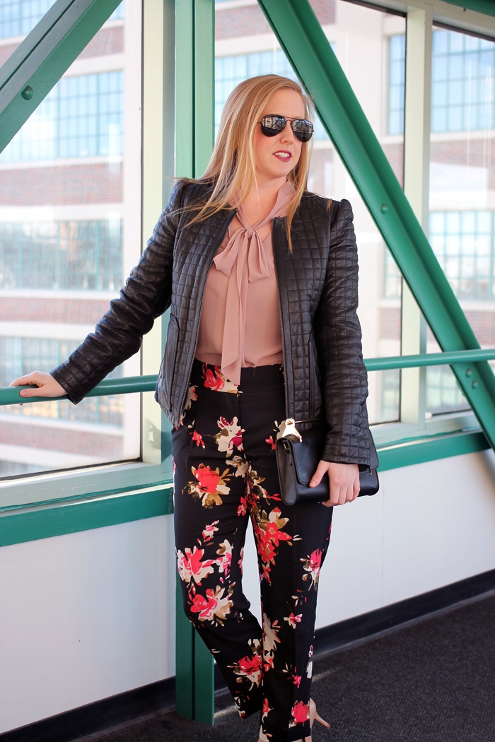 joie leather quilted jacket, forever 21 gold handle purse, boston style blogger, spring floral pants, flower pants for spring, dressy floral pants, dressy spring pants, boston style blog, what i wore, loft floral track pants, floral track pants