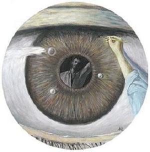 pintura de Aute en la que se ve un ojo gigante y la figura de Aute reflejada en el iris