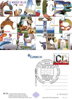 Tarjeta prefranqueada 12 sellos, 12 meses, 12 provincias
