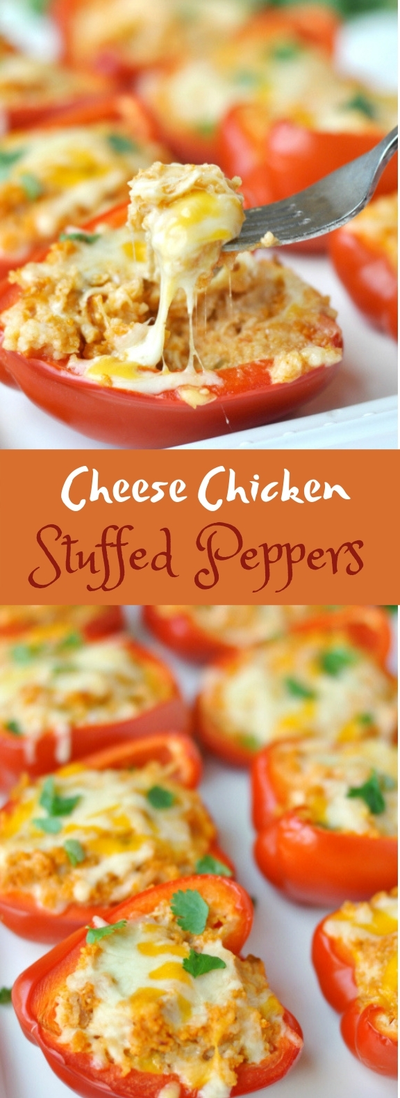 Cheesy Chicken Stuffed Peppers #healthy #lowcarb