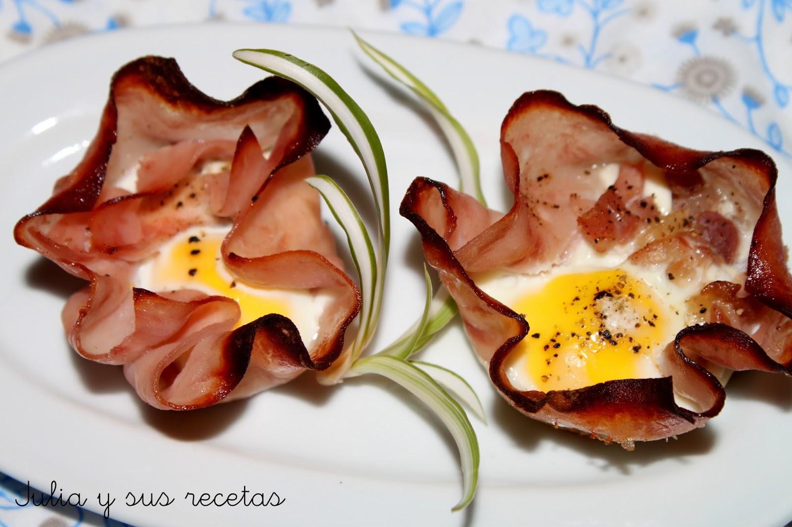Flores de jamón y huevos de codorniz. Julia y sus recetas
