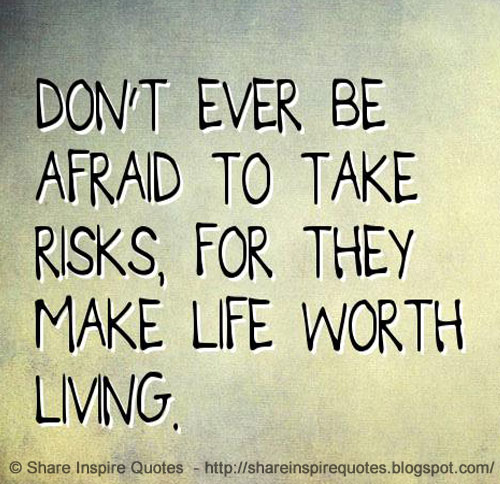 Quotes About Taking Chances And Living Life: Don't Ever Be Afraid To Take Risks, For They Make Life