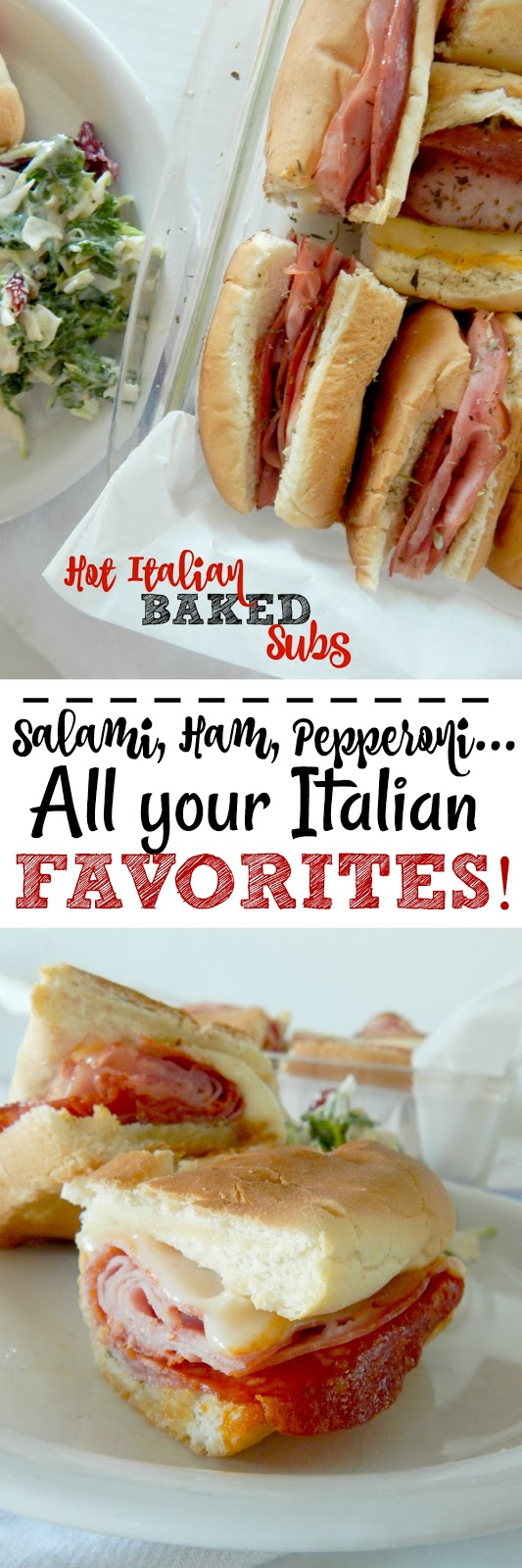 Hot Italian Baked Subs...every Mom's dream meal!  Just 10 minutes to assemble and 10 minutes to bake.  Salami, pepperoni, ham, cheese, butter and seasonings, the perfect answer for busy weeknights. (sweetandsavoryfood.com)