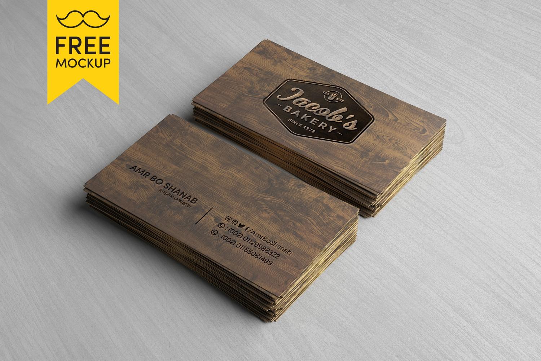 Free Wooden Business Card Mockup PSD | Amr Bo Shanab