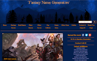 A screen cap of the Fantasy Name Generator website, with links to the various types of names that can be generated