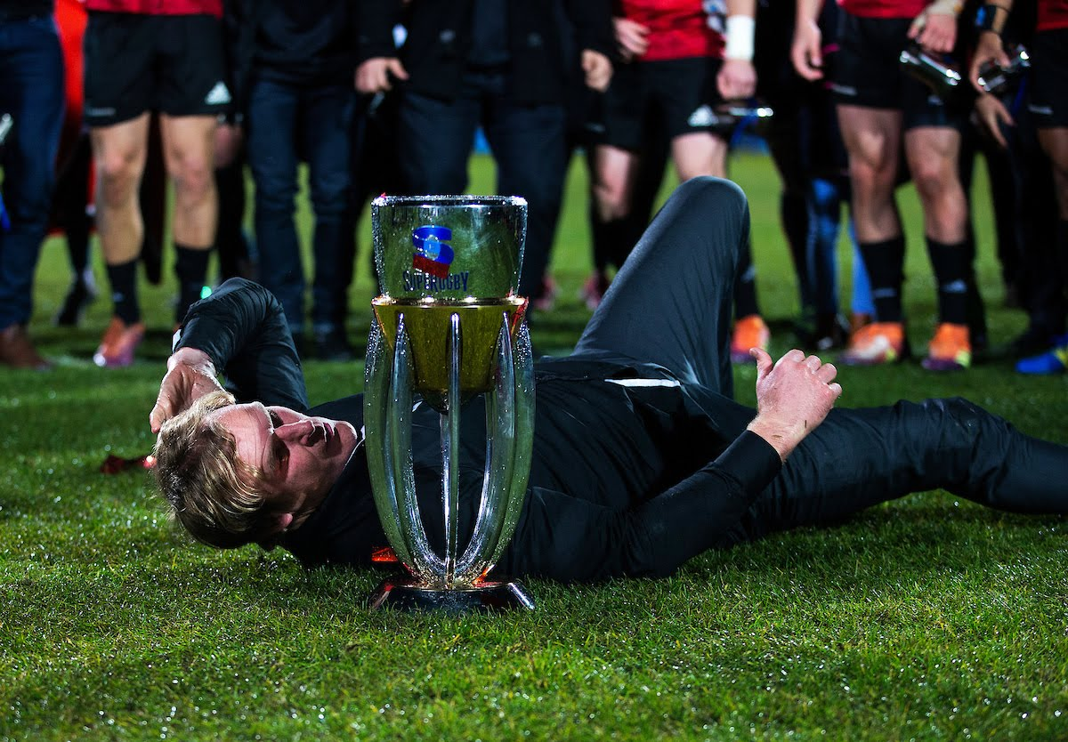 Crusaders coach Scott Robertson dances after winning the 2019 Super Rugby final between the Crusaders and Jaguares at Orangetheory Stadium in Christchurch, New Zealand on Saturday, 6 July 2019.